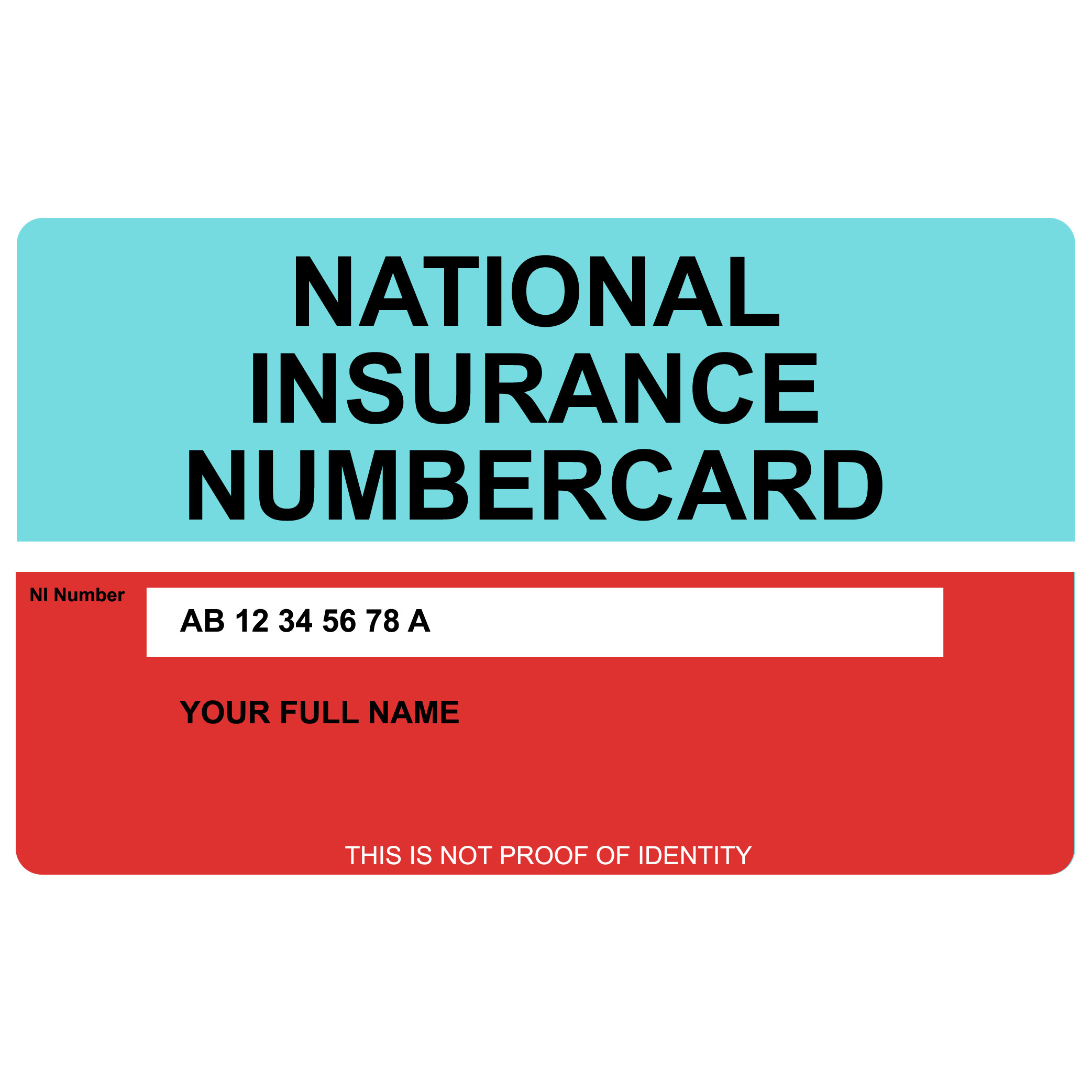 national insurance card template  National Insurance Number Card - Printed on hard plastic - Action Retail