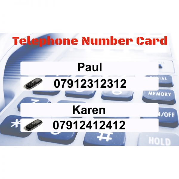 Telephone Number Card